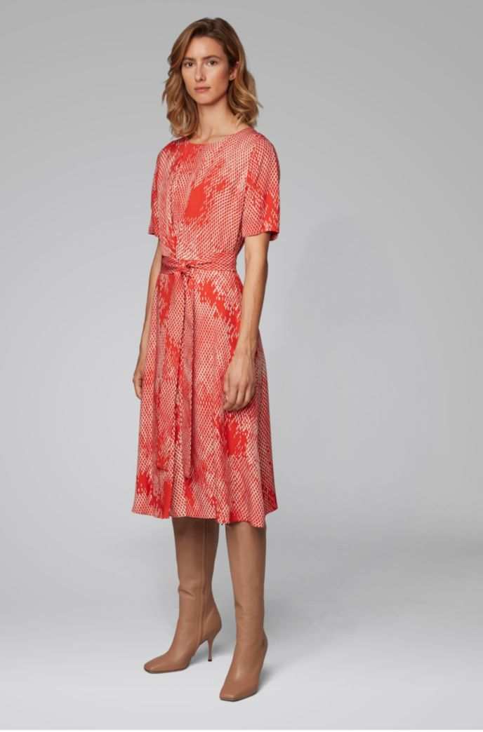 Lightweight midi-length dress with exclusive snake print