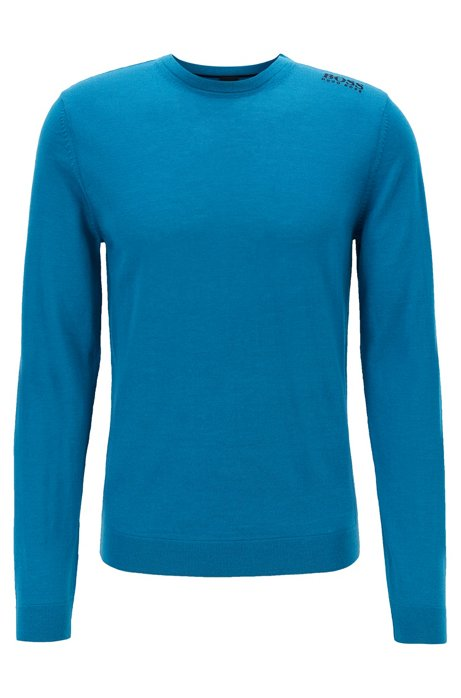 Golf sweater in water-repellent merino wool, Open Blue