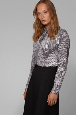 Regular-fit blouse with exclusive snake print, Patterned