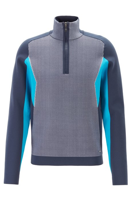 Knitted color-block sweater with logo-trimmed quarter zipper, Dark Blue