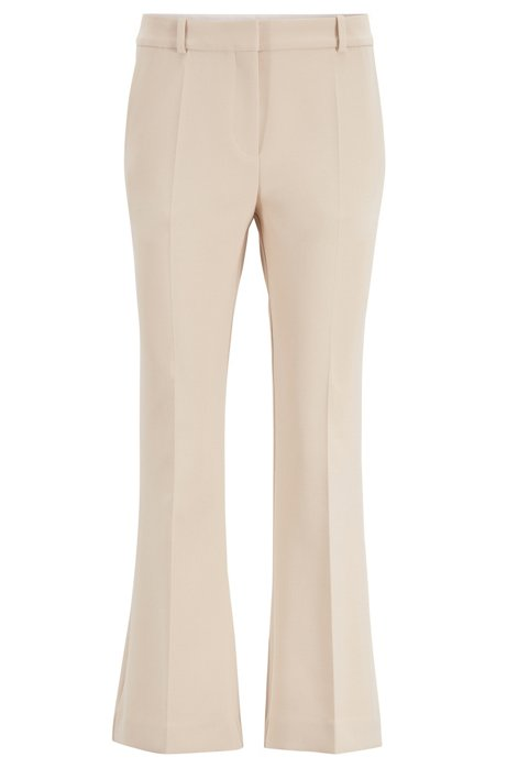 Slim-fit pants with kick-flare leg, Open Beige