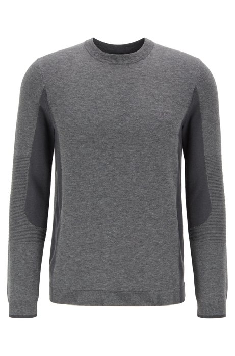 Regular-fit color-blocked sweater with S.Café®, Grey