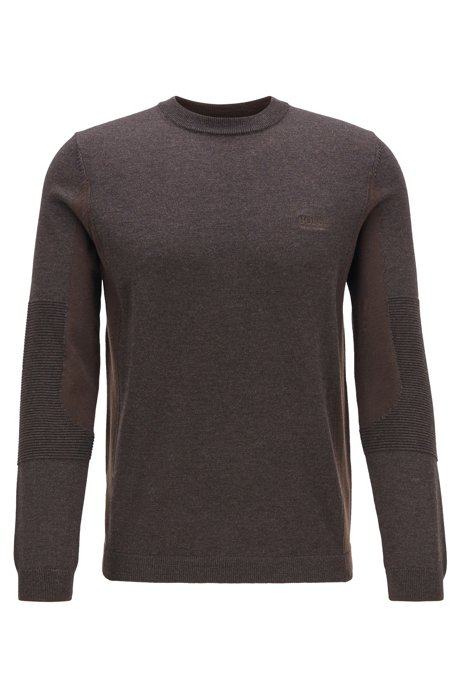 Regular-fit color-blocked sweater with S.Café®, Brown