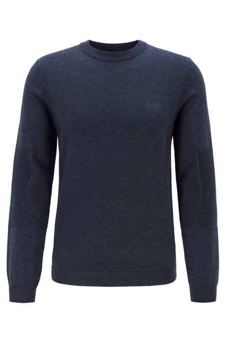 Regular-fit color-blocked sweater with S.Café®, Open Blue