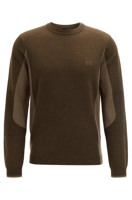 Regular-fit color-blocked sweater with S.Café®, Orange