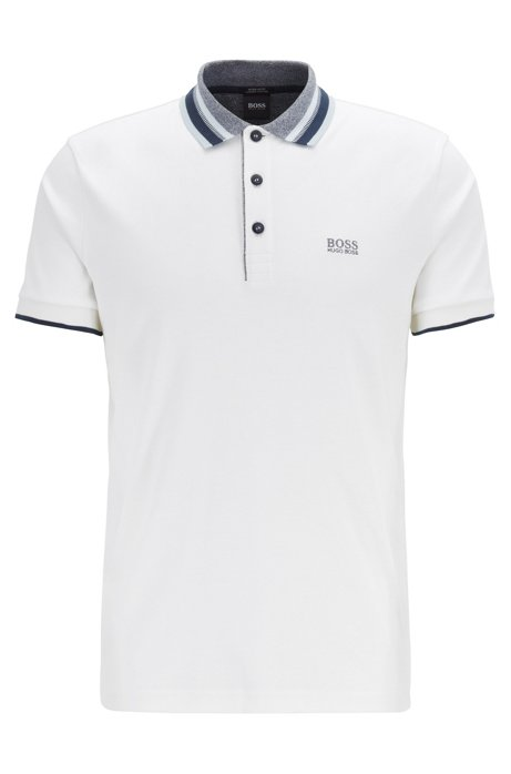 Interlock-cotton polo shirt with multicolored trims, White