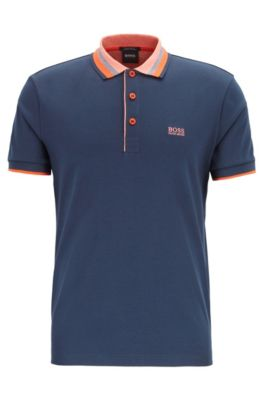 Interlock-cotton polo shirt with multicolored trims, Dark Blue