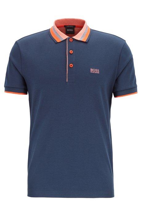 Interlock-cotton polo shirt with multicolored trims, Dark Blue