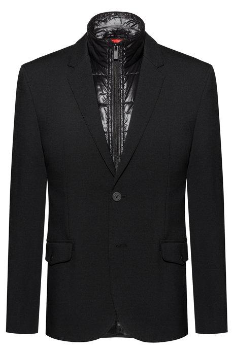Slim-fit jacket with zip-through padded vest, Black