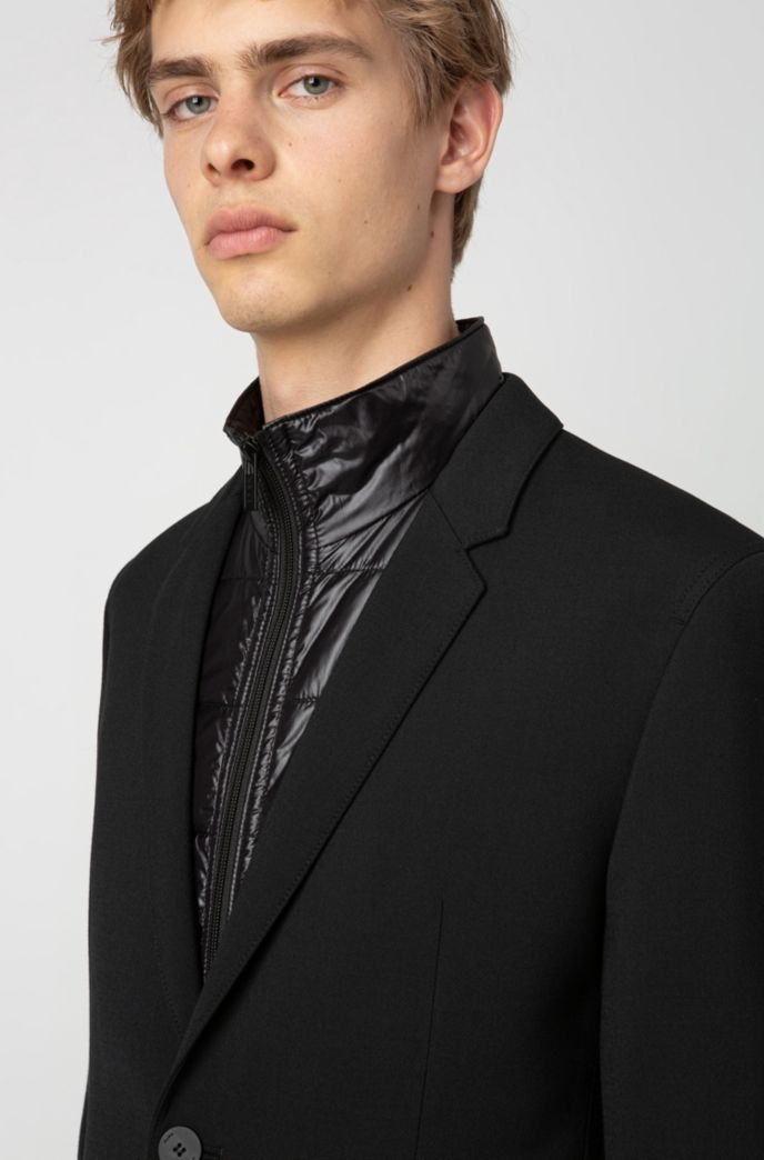 Slim-fit jacket with zip-through padded vest