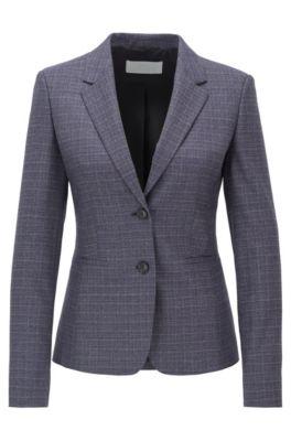 Slim-fit jacket in super-stretch Italian virgin wool, Patterned