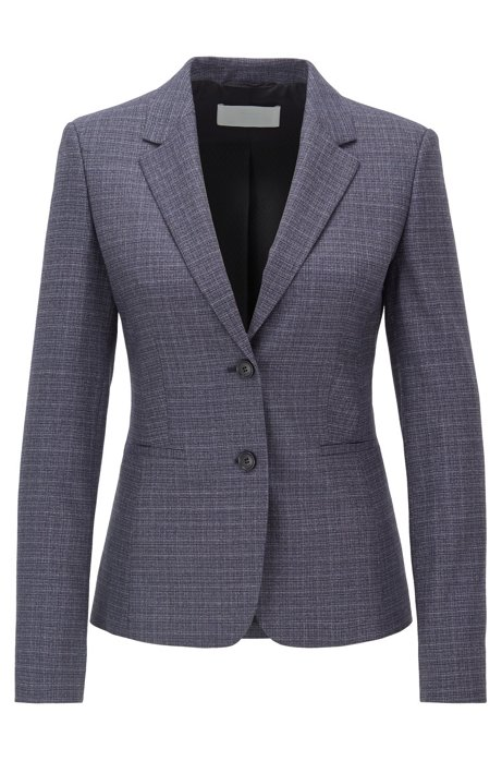 Slim-fit jacket in super-stretch Italian virgin wool, Patterned