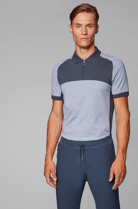 Slim-fit color-block polo shirt with S.Café® , Open Blue