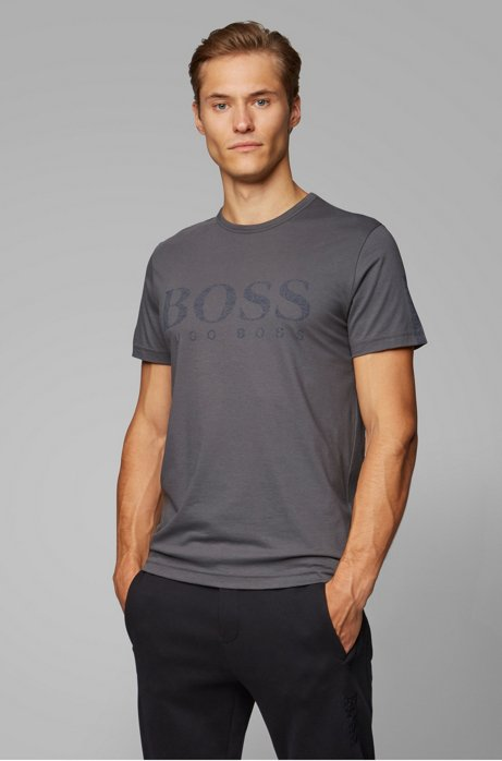 Regular-fit T-shirt in cotton with mouline logo, Charcoal