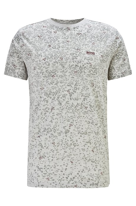 Cotton T-shirt with multi-layer triangle print, Light Grey