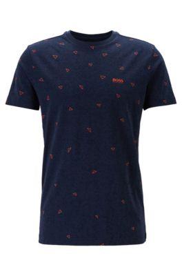 Cotton T-shirt with multi-layer triangle print, Dark Blue