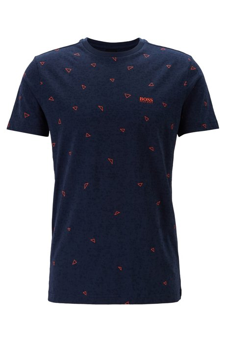 Cotton T-shirt with multi-layer triangle print, Dark Blue