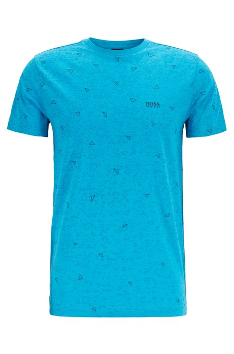Cotton T-shirt with multi-layer triangle print, Light Blue