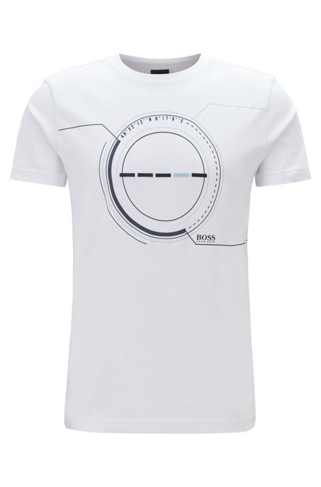 Cotton-blend T-shirt with printed and embroidered artwork, White