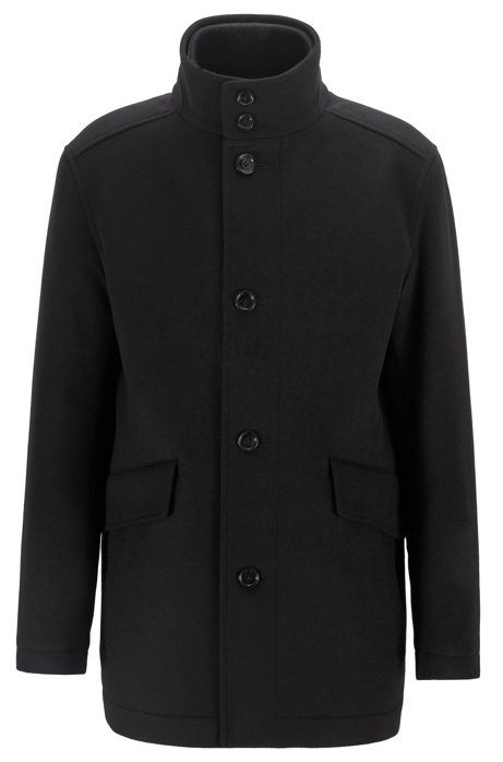 Funnel-neck car coat in virgin wool with cashmere, Black