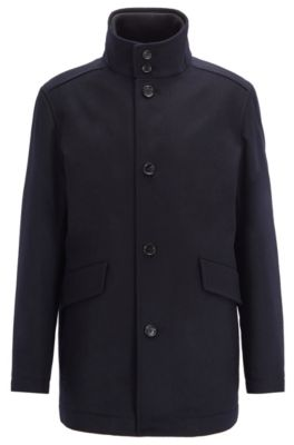 Funnel-neck car coat in virgin wool with cashmere, Dark Blue