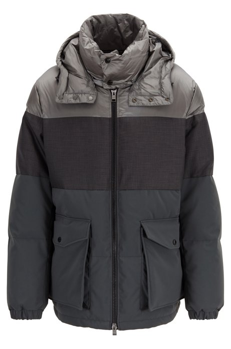 Water-repellent down jacket with detachable hood, Open Grey