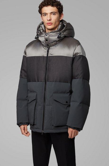 Water-repellent down jacket with detachable hood, Open Grey