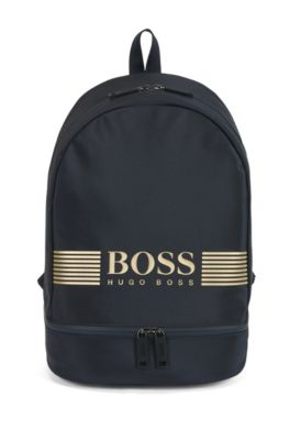 Backpack in structured nylon with logo artwork, Dark Blue