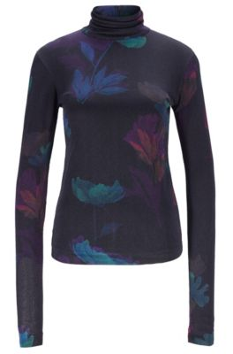 Hugo Boss Slim-fit Top In Floral Pattern With Back Zipper In Patterned