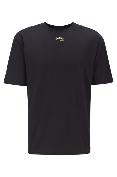 Retro-style cotton T-shirt with curved logos, Black