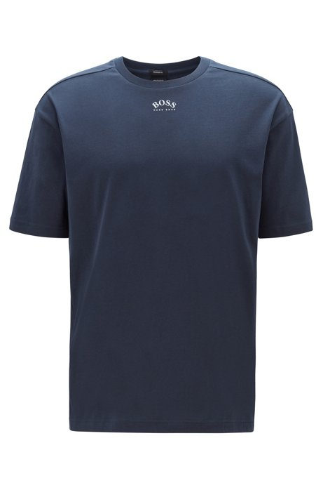 Retro-style cotton T-shirt with curved logos, Dark Blue