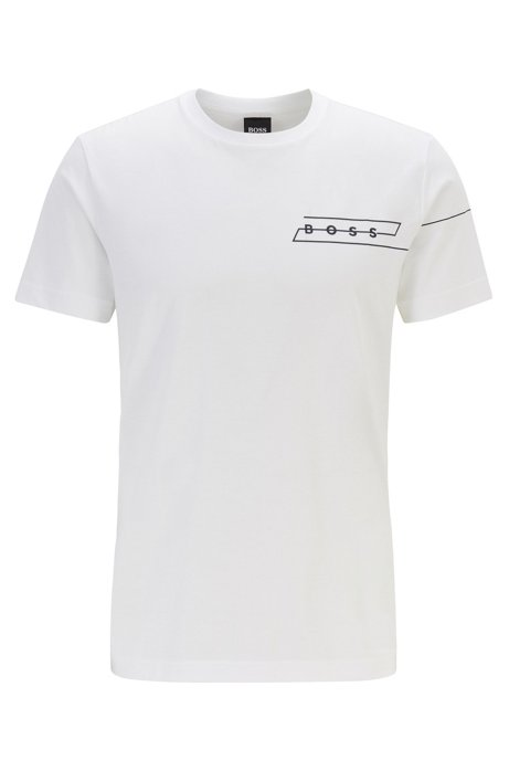 "Regular-fit T-shirt with ""curated"" artwork in cotton, White"