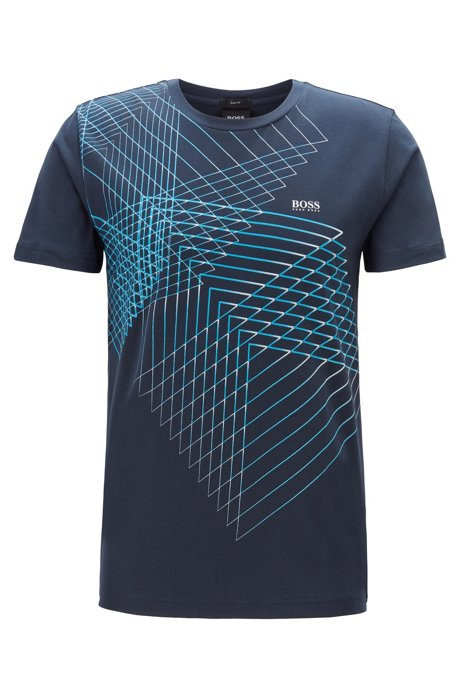 Slim-fit T-shirt with geometric artwork, Dark Blue