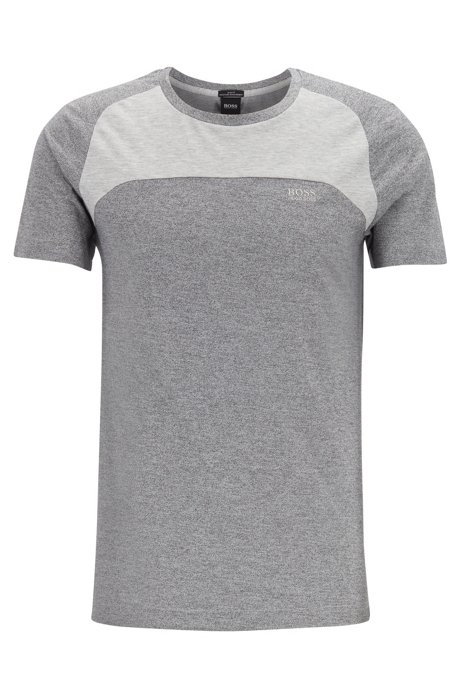 Color-block T-shirt in stretch piqué with S.Café®, Light Grey