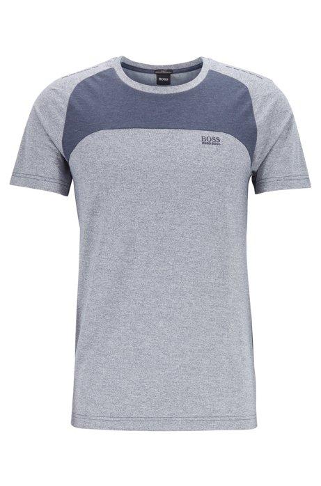 Color-block T-shirt in stretch piqué with S.Café®, Open Blue