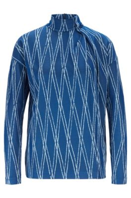 Turtleneck top with jacquard motif and wrap detail, Patterned