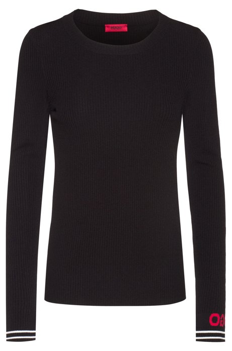 Slim-fit knitted sweater with logo cuff, Black