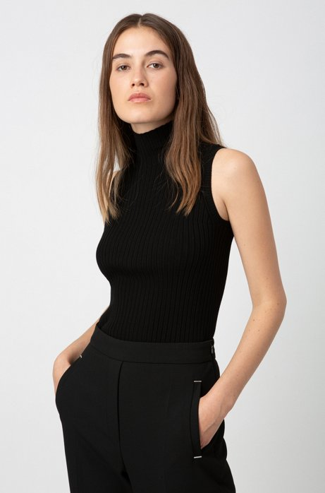 Sleeveless top in ribbed fabric with mock neckline, Black