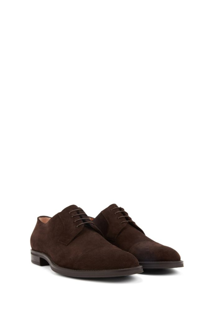 Italian-made Derby shoes in suede with monogrammed sole
