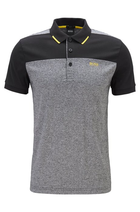 Slim-fit polo shirt in cotton with contrast panels, Black