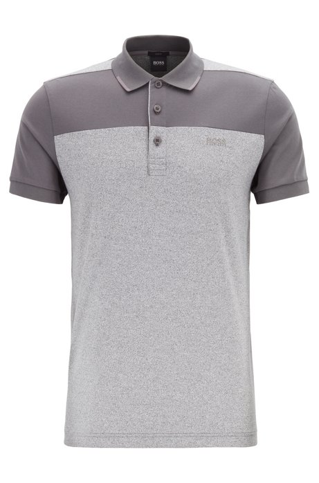 Slim-fit polo shirt in cotton with contrast panels, Charcoal