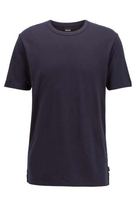 Crew-neck T-shirt in cotton piqué, Dark Blue