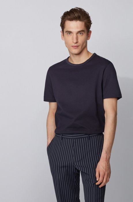 Crew-neck T-shirt in cotton piqué, Dark Blue