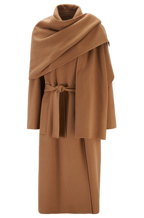 Relaxed-fit belted trench coat with detachable shawl, Light Brown