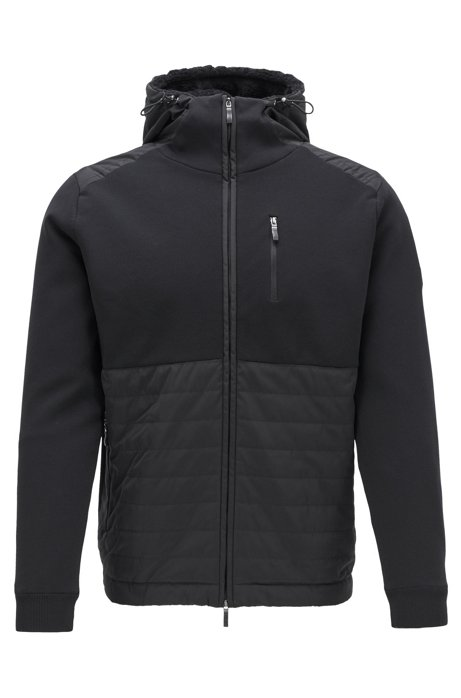 Hooded jacket in hybrid fabrics with teddy lining, Black