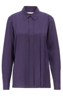 Relaxed-fit blouse in washed silk with pleat details, Dark Purple