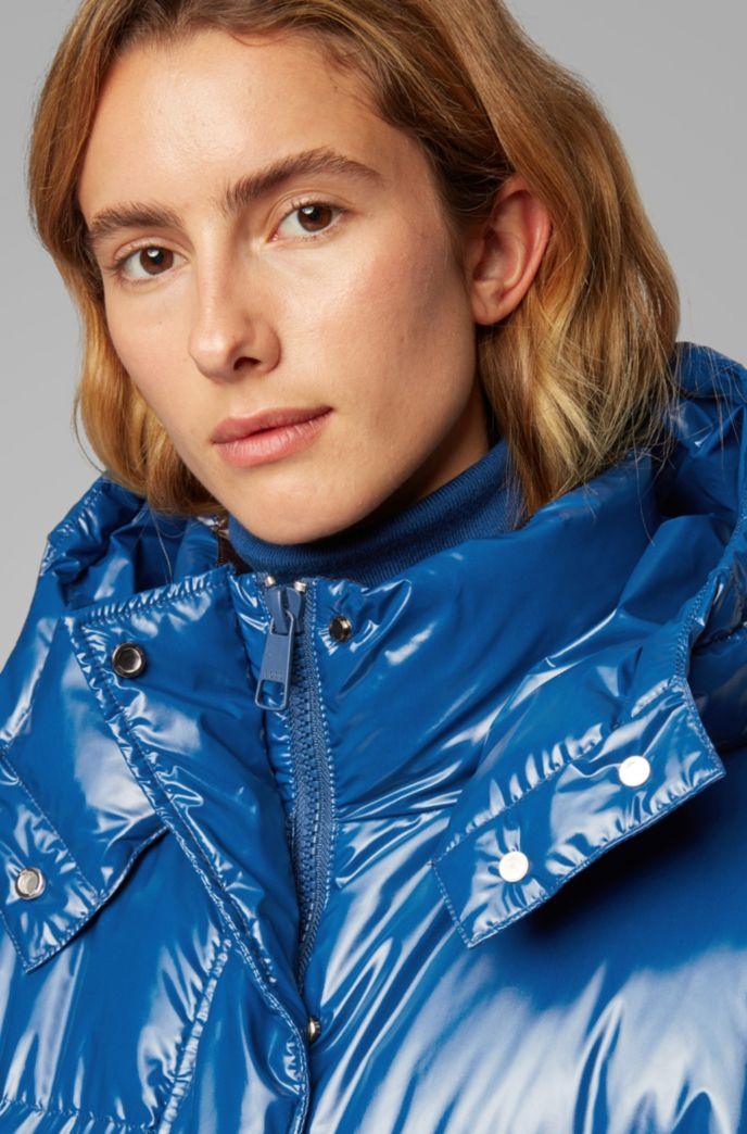 Regular-fit water-repellent down coat in glossy fabric