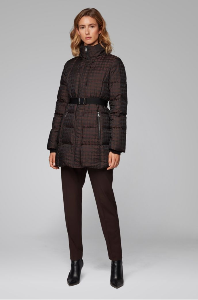 Water-repellent down jacket with signature buckled belt