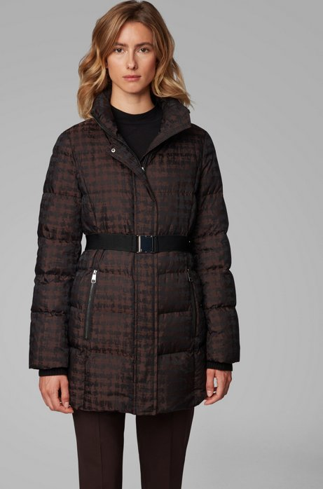 Water-repellent down jacket with signature buckled belt, Patterned