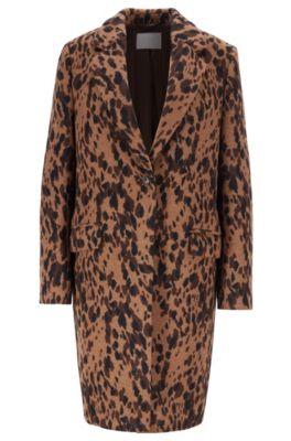Regular-fit blazer-style coat in animal jacquard, Patterned